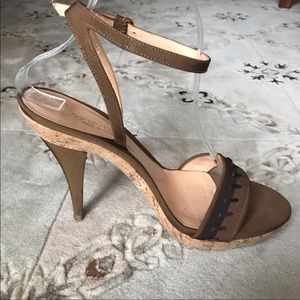 Sergio Rossi cork & silk sandals